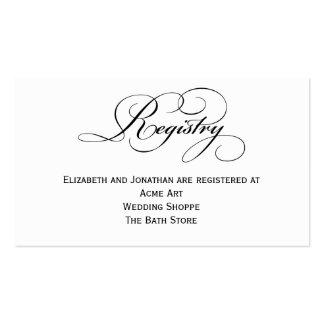Script Wedding Registry Information Card Business Card