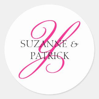 Script Y Monogram Labels (Hot Pink / Black)