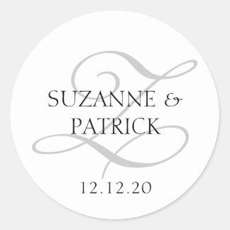 Script Z Monogram Labels (Silver / Black) Classic Round Sticker