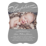 Scripted Baptism Rosary Cross Boy Silver Photo Personalized Announcement