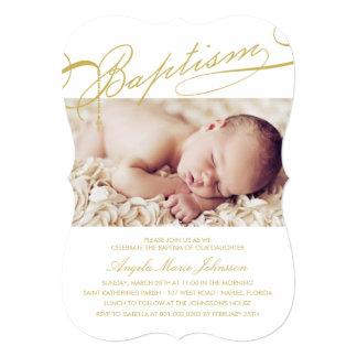 "Scripted Baptism Rosary Cross Girl Photo Invite 5"" X 7"" Invitation Card"