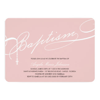 Scripted Baptism Rosary Cross Girl Pink Invitation
