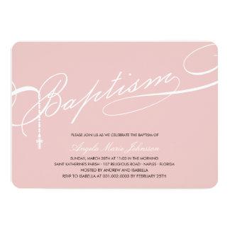 "Scripted Baptism Rosary Cross Girl Pink Invitation 5"" X 7"" Invitation Card"