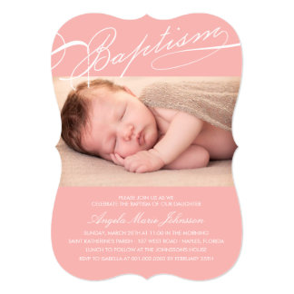 Scripted Baptism Rosary Cross Girl Pink Photo 5x7 Paper Invitation Card
