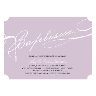 "Scripted Baptism Rosary Cross Girl Purple Invite 5"" X 7"" Invitation Card"