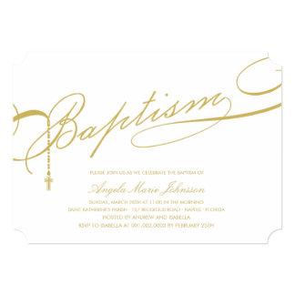 "Scripted Baptism Rosary Cross Stylish Invitation 5"" X 7"" Invitation Card"