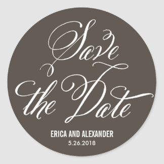Scripted Beauty Save The Date - Editable Color Classic Round Sticker