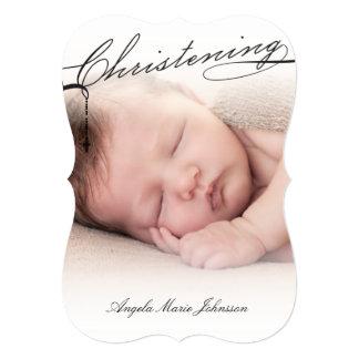 Scripted Christening Modern Cross Black Baby Photo Card