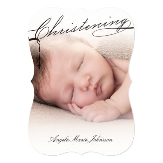 Scripted Christening Modern Cross Black Baby Photo 5x7 Paper Invitation Card