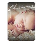 Scripted Christening Modern Cross Blue Baby Photo Custom Invitation