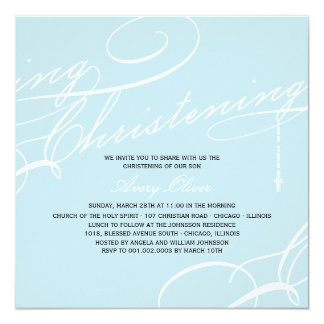 "Scripted Christening Modern Cross Blue Invitation 5.25"" Square Invitation Card"