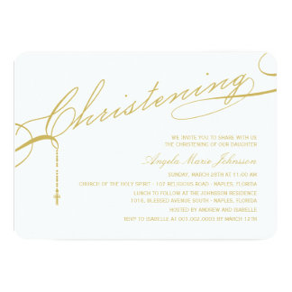 Scripted Christening Modern Cross Gold Baby Photo Card