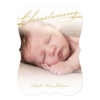 Scripted Christening Modern Cross Gold Baby Photo 5x7 Paper Invitation Card