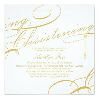 "Scripted Christening Modern Cross Gold Invitation 5.25"" Square Invitation Card"