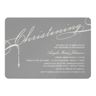 Scripted Christening Modern Cross Gray Baby Photo Card