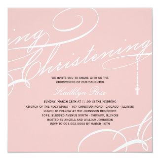 "Scripted Christening Modern Cross Pink Invitation 5.25"" Square Invitation Card"