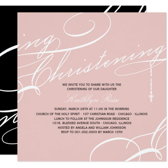 Scripted Christening Modern Cross Pink Religious Card