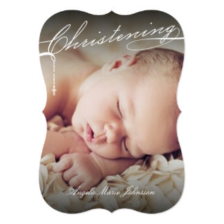 Scripted Christening Modern White Cross Baby Photo 5x7 Paper Invitation Card