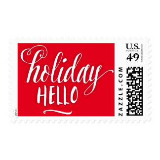 Scripted Holiday Hello Holiday Postage Stamp