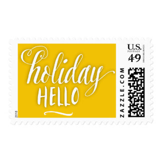 Scripted Holiday Hello Postage Stamp