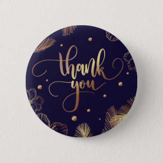 Scripted Thank you typography with golden feathers Button