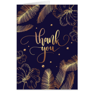 Scripted Thank you typography with golden feathers Card