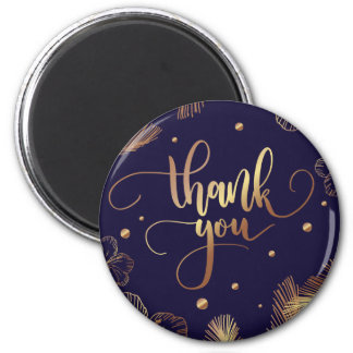 Scripted Thank you typography with golden feathers Magnet