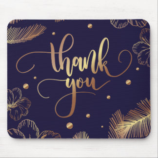 Scripted Thank you typography with golden feathers Mouse Pad