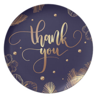 Scripted Thank you typography with golden feathers Plate