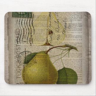 scripts decorative vintage botanical art pear mouse pad