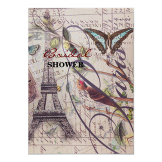 Scripts french bird butterfly Paris Eiffel Tower Card