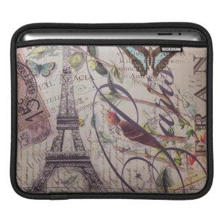 Scripts french bird butterfly Paris Eiffel Tower iPad Sleeve