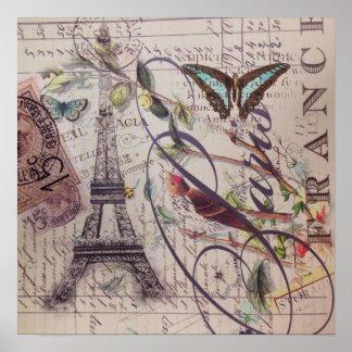 Scripts french bird butterfly Paris Eiffel Tower Poster