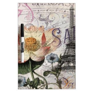 scripts french botanical lotus paris eiffel tower Dry-Erase board