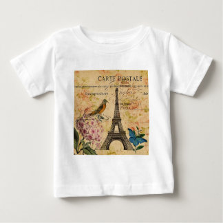 Scripts Hydrangea French Bird Paris Eiffel Tower Baby T-Shirt