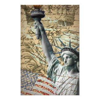 Scripts Patriotic New York statue of liberty Stationery
