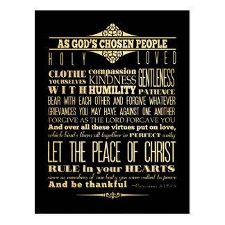 Scriptural Bible Verse - Colossians 3:12-13 Postcard