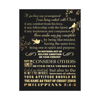 Scriptural Bible Verse - Philippians 2: 1-5 Gallery Wrapped Canvas