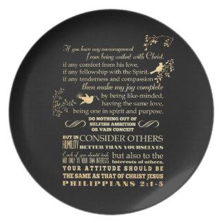 Scriptural Bible Verse - Philippians 2: 1-5 Dinner Plate