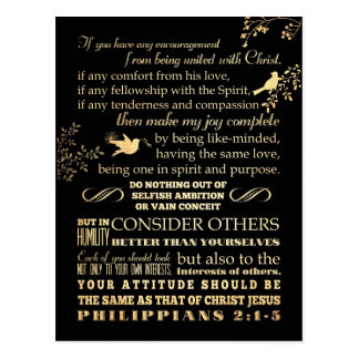 Scriptural Bible Verse - Philippians 2: 1-5 Postcard