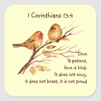 Scripture 1 Corinthians 13:4 Love Compassion Birds Square Sticker