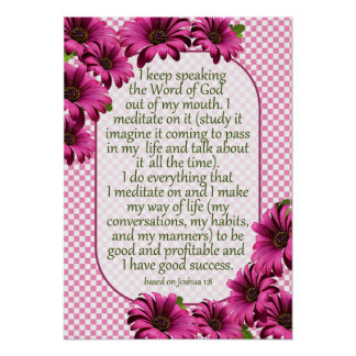Scripture Affirmation for Success:  Pink Daisy Poster