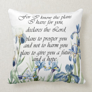 Scripture Botanical Blue Iris Flowers Floral Pillow