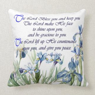 Scripture Botanical Blue Iris Flowers Floral Throw Pillow