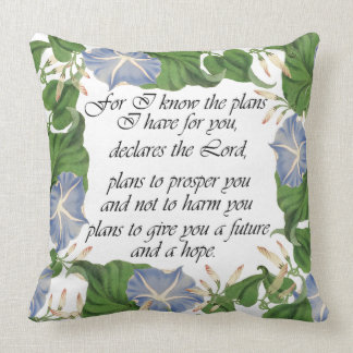 Scripture Botanical Morning Glory Flowers Floral Pillow