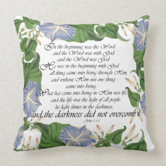 Scripture Botanical Morning Glory Flowers Floral Throw Pillow
