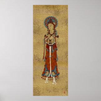 Scripture Buddha Crackle Background Art Print