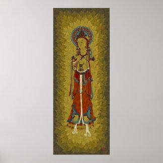 Scripture Buddha Maple Leaf Background Art Print