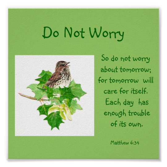 Scripture Do Not Worry With Song Sparrow Poster Zazzle Com