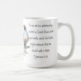 Scripture Ephesians 2:10 with California Quail Coffee Mug